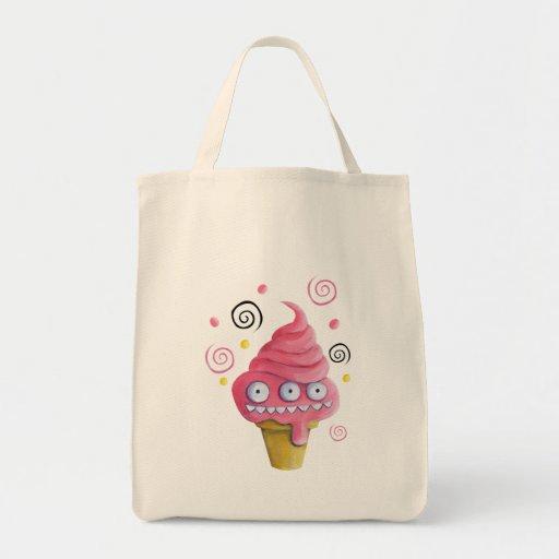 Cono de helado rosado del monstruo bolsa tela para la compra