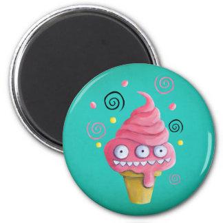 Cono de helado rosado del monstruo imán redondo 5 cm