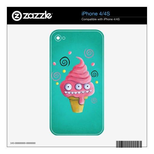 Cono de helado rosado del monstruo calcomanía para iPhone 4S