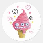 Cono de helado rosado del monstruo pegatinas redondas
