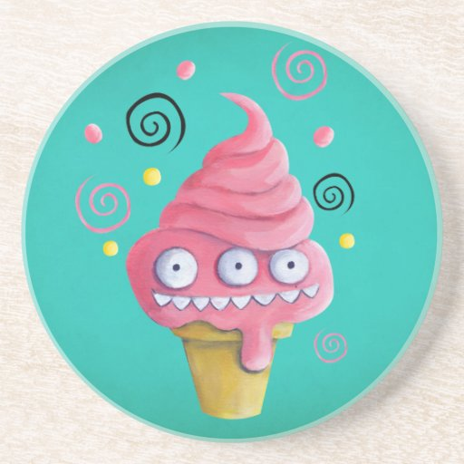 Cono de helado rosado del monstruo posavaso para bebida