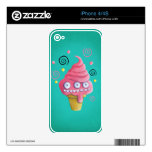 Cono de helado rosado del monstruo calcomanías para el iPhone 4S