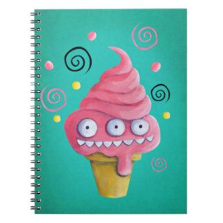 Cono de helado rosado del monstruo spiral notebooks