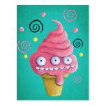 Cono de helado rosado del monstruo tarjetas postales
