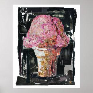 Cono de helado rosado póster