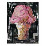 Cono de helado rosado tarjeta postal