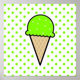 Cono de helado verde chartreuse, de neón posters