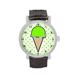Cono de helado verde chartreuse, de neón relojes de pulsera