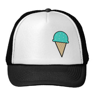 Cono de helado verde de la turquesa gorras