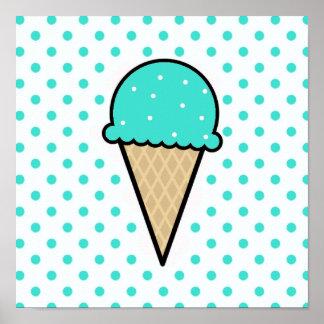 Cono de helado verde de la turquesa póster