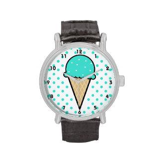 Cono de helado verde de la turquesa relojes de mano