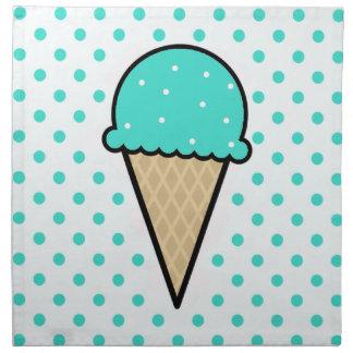Cono de helado verde de la turquesa servilleta