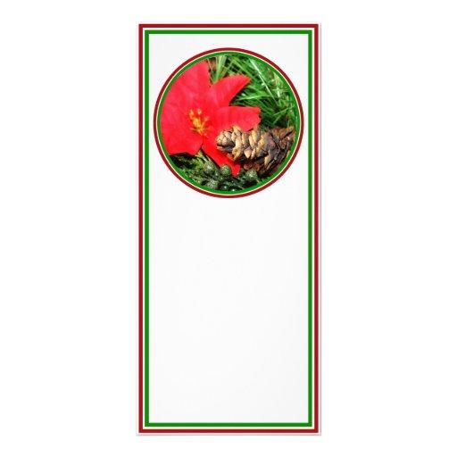 Cono del pino con el ornamento del árbol del Poins Diseño De Tarjeta Publicitaria