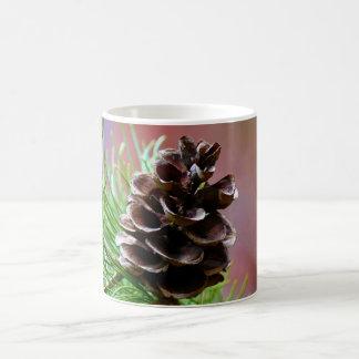 Cono del pino de la conífera taza básica blanca