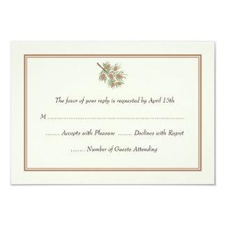 """Cono elegante del pino que casa las tarjetas de invitación 3.5"""" x 5"""""""