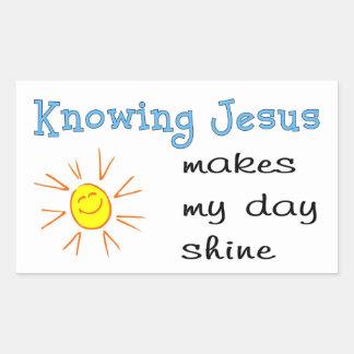 Conocer a Jesús hace mi brillo del día Pegatina Rectangular