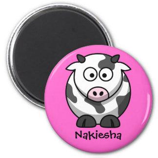 Conocido personalizada - vaca linda del dibujo ani imán redondo 5 cm