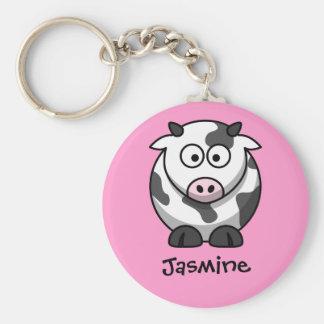 Conocido personalizada - vaca linda del dibujo ani llavero personalizado
