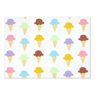 """Conos de helado coloridos invitación 5"""" x 7"""""""