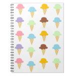 Conos de helado coloridos libreta
