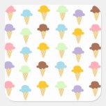 Conos de helado coloridos pegatinas cuadradas personalizadas