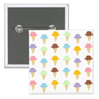 Conos de helado coloridos pin cuadrado