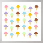 Conos de helado coloridos posters
