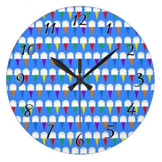 Conos de helado del arco iris reloj redondo grande