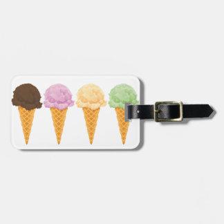 Conos de helado etiqueta de equipaje