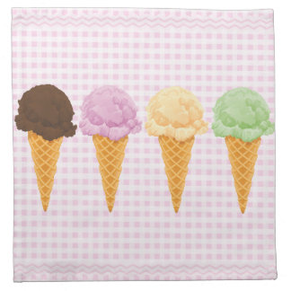 Conos de helado rosados retros de la guinga servilletas imprimidas