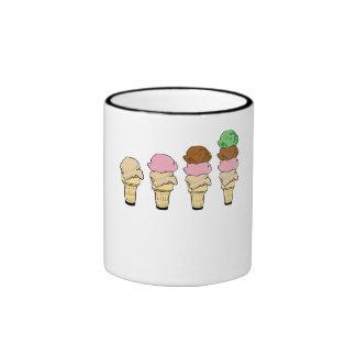 Conos de helado taza de café