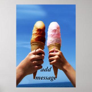 Conos de helado triples de la cucharada póster