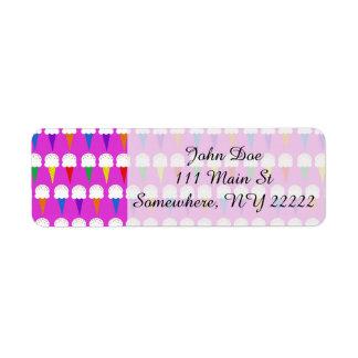 Conos del arco iris en rosa purpurino etiqueta de remitente