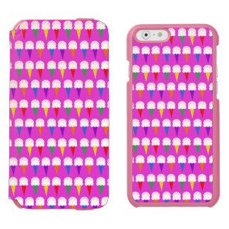 Conos del arco iris en rosa purpurino funda billetera para iPhone 6 watson