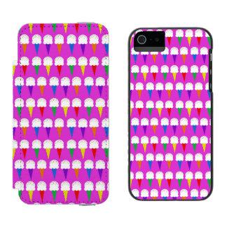 Conos del arco iris en rosa purpurino funda billetera para iPhone 5 watson