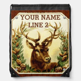 Conos del pino de los ciervos personalizados con mochila