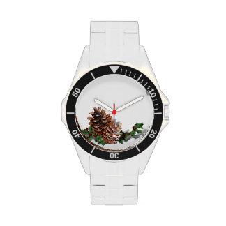 Conos del pino del navidad reloj