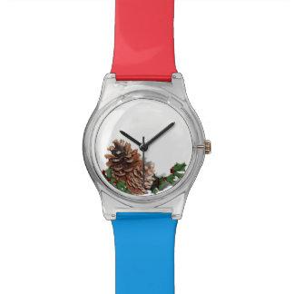 Conos del pino del navidad reloj de mano