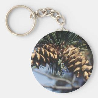 Conos del pino llavero redondo tipo pin