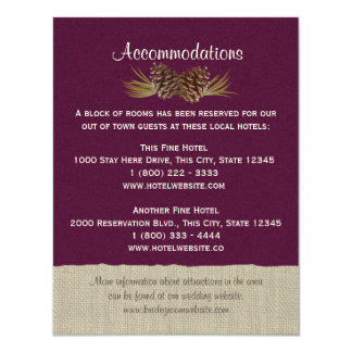 """Conos del pino y ciruelo de la tarjeta de la invitación 4.25"""" x 5.5"""""""