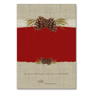 Conos del pino y tarjeta roja del asiento de la ar