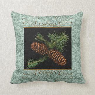 Conos verdes del damasco y del pino de la acuarela cojín decorativo