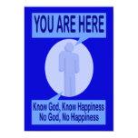 Conozca a dios, sepa la felicidad invitación 12,7 x 17,8 cm