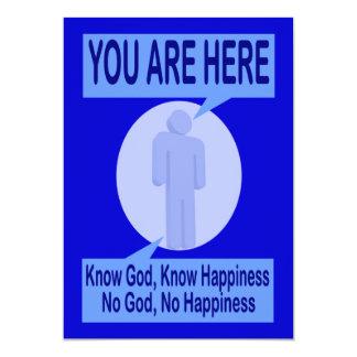"""Conozca a dios, sepa la felicidad invitación 5"""" x 7"""""""
