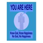 Conozca a dios, sepa la felicidad. Ningún dios, Postal