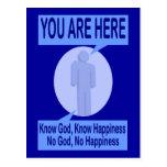 Conozca a dios, sepa la felicidad. Ningún dios, Tarjeta Postal