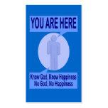 Conozca a dios, sepa la felicidad - tarjeta de la tarjetas de visita