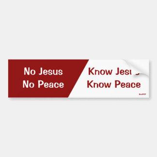 Conozca a Jesús, sepa la paz Etiqueta De Parachoque