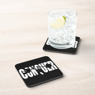 CONQUER - Olympic Weightlifting - Gym Motivational Beverage Coaster