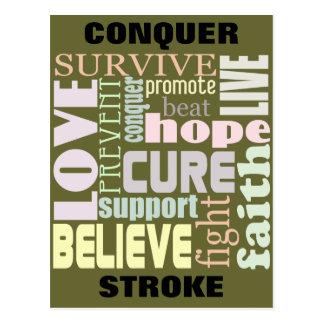 Conquer Stroke Inspirational Postcard